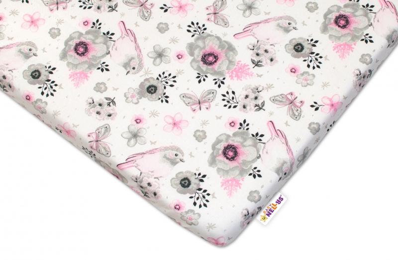 Dětské bavlněné prostěradlo do postýlky Baby Nellys - Ptáčci - růžové - 120x60