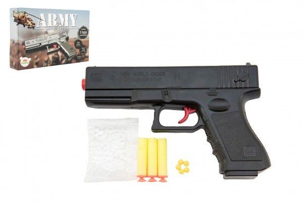 Pistole na kuličky 20cm plast + 3 druhy nábojů v krabičce 23x15x4cm