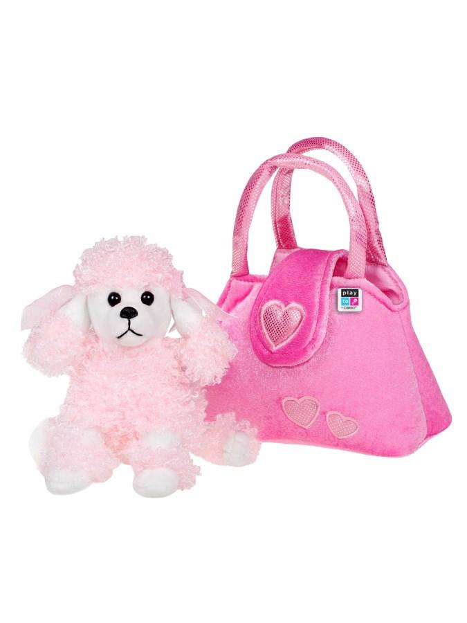 Dětská plyšová hračka PlayTo Pejsek v kabelce - růžová