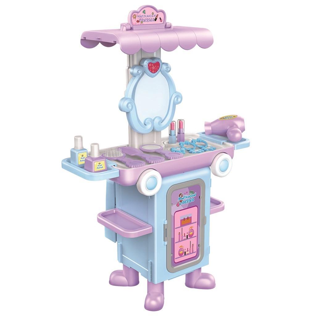 Dětský rozkládací kosmetický stoleček autobus Bayo + příslušenství - růžová