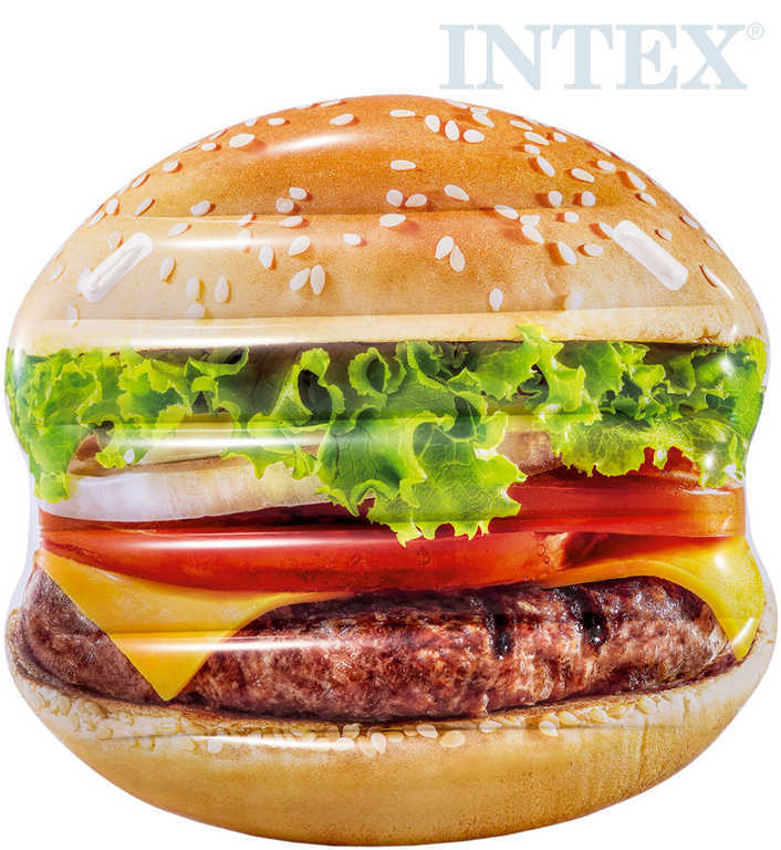 INTEX Lehátko nafukovací Hamburger 145x142cm matrace s úchyty na vodu 58780