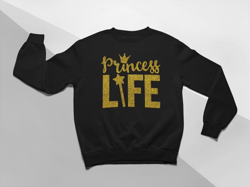 kidsbee-moderni-detska-divci-mikina-princess-life-cerna-vel-110-110