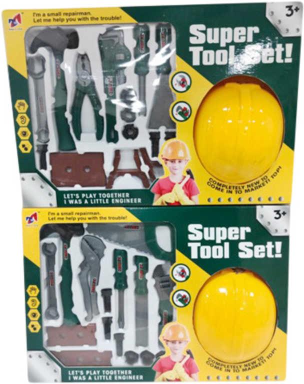 Dětské pracovní nářadí set s helmou malý kutil různé druhy plast