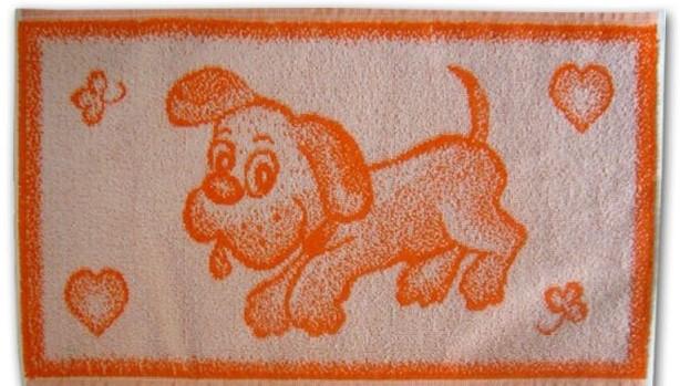 Dětský froté ručník 50x30cm Pejsek oranžový