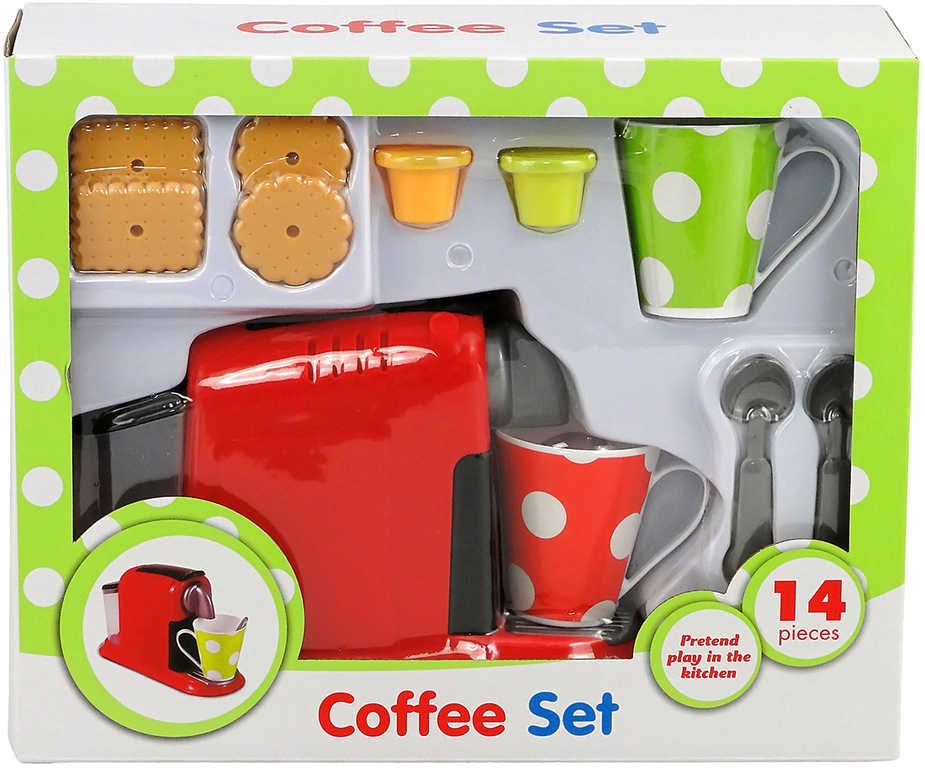 Kávový set dětské nádobí plastové s kávovarem a sušenkami 14ks v krabici