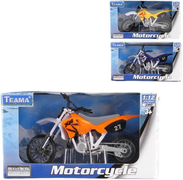 Motorka terénní model 1:12 Teama kov + plast - 3 barvy