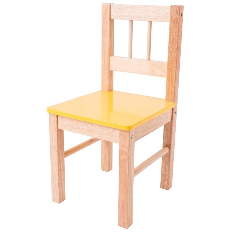 Bigjigs Toys Dřevěná židle žlutá