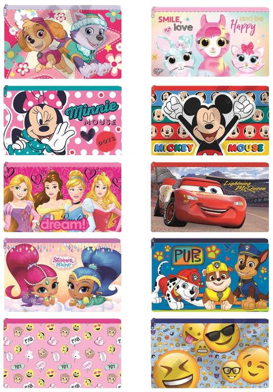 Taštička dětská Disney penál 24x15cm pouzdro na zip různé druhy