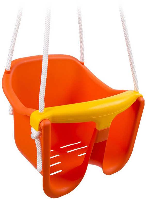Baby houpačka plastová se zábranou Oranžová skořepina závěsná pro nejmenší