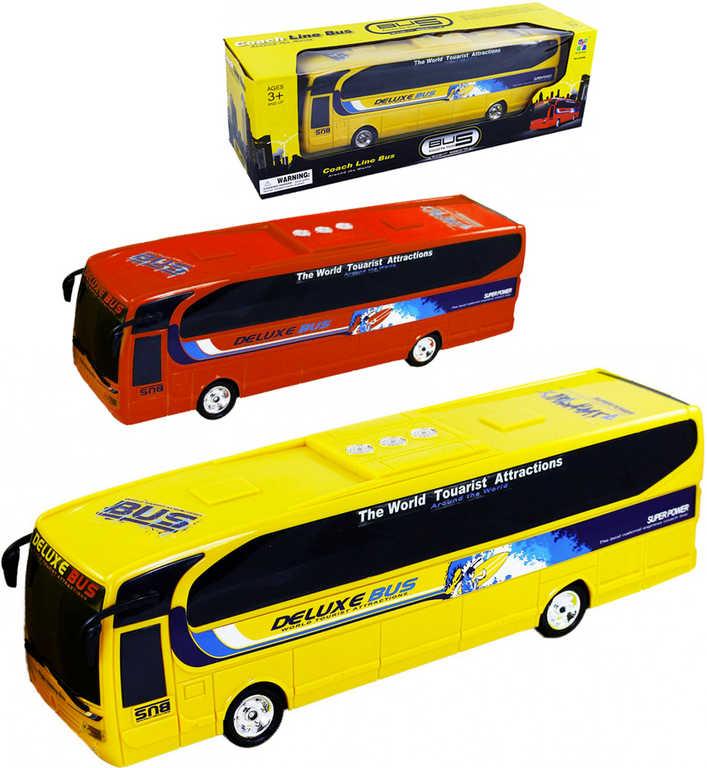 Autobus dálkový Deluxe 35cm na setrvačník plastový 2 barvy