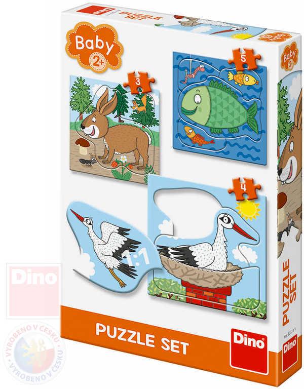 DINO Baby puzzle Kde žijí zvířátka 18x18cm skládačka 3v1 velké dílky