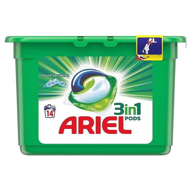 Ariel 3v1 Mountain Spring gelové kapsle, 14 praní 14 ks