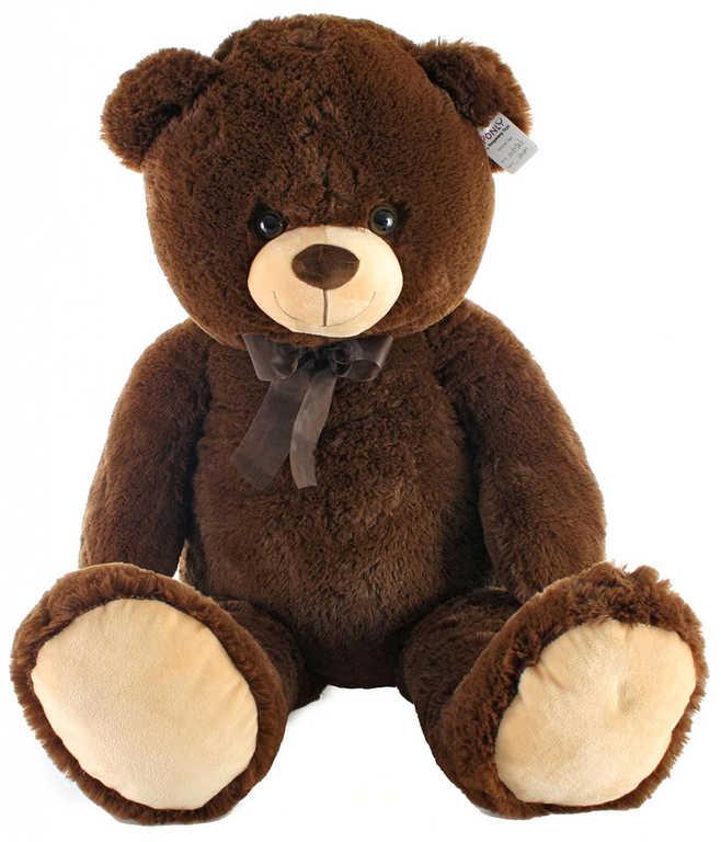 PLYŠ Medvěd hnědý tmavý 100cm s mašlí *PLYŠOVÉ HRAČKY*