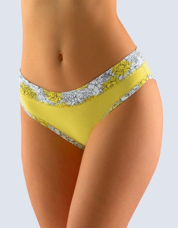GINA dámské kalhotky bokové se širokým bokem, širší bok, šité, s potiskem 16105P - pampelišková bílá - 34/36