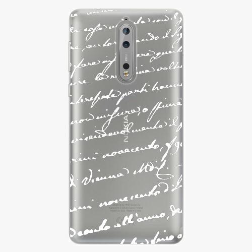 Plastový kryt iSaprio - Handwriting 01 - white - Nokia 8