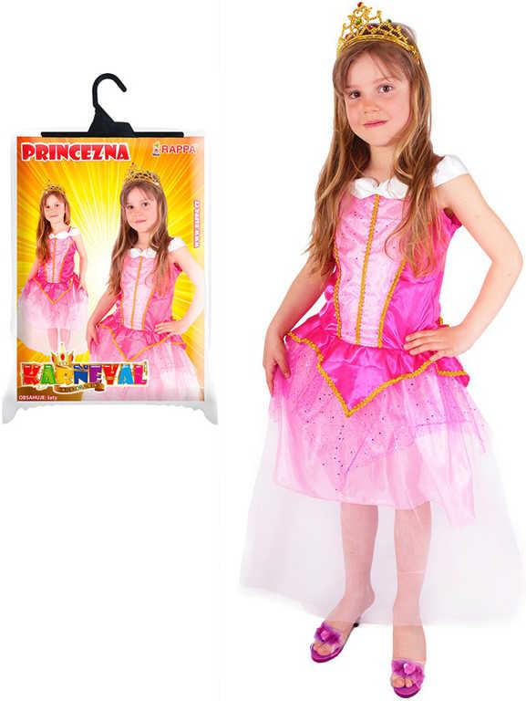 KARNEVAL Šaty zlatě zdobené růžová princezna vel.S (4-6 let) KOSTÝM