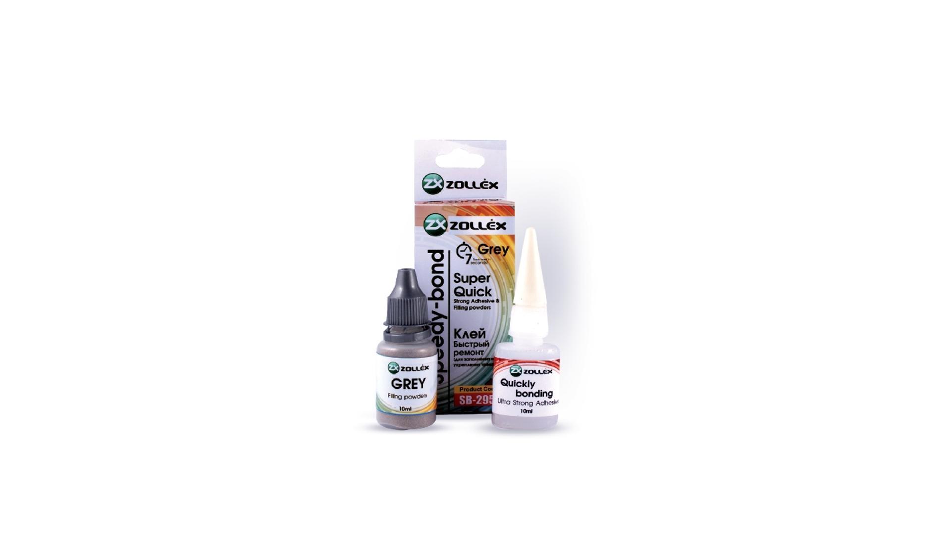 ZOLLEX Dvousložkové pryskyřičné lepidlo - Rychlá vazba - šedá 10ml + 10ml víceúčelové (na kovové části) (SB-295g)
