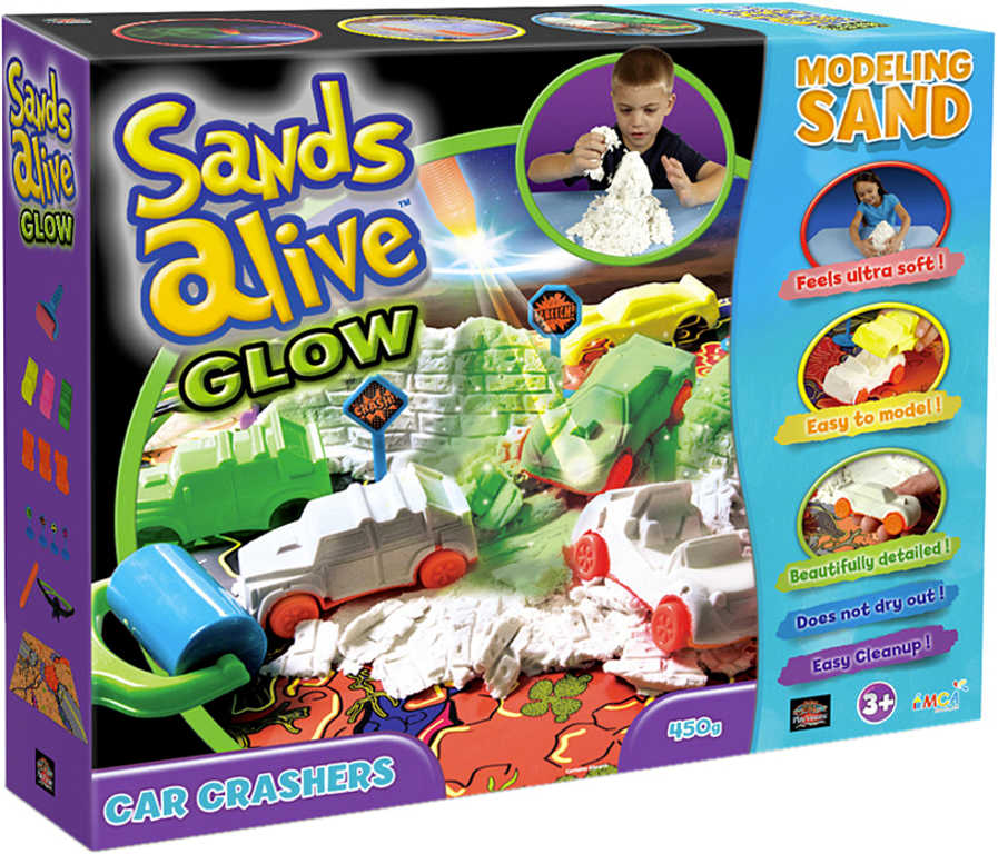 Písek magický 450g Sands Alive Bouračka set s brýlemi a doplňky na baterie