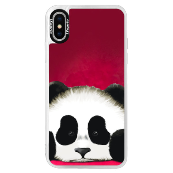 Neonové pouzdro Pink iSaprio - Sad Panda - iPhone XS