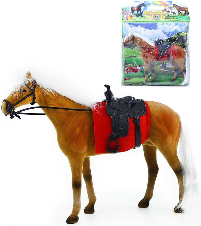 Kůň fliškový se sedlem hnědo-bílý 32cm flíska v sáčku