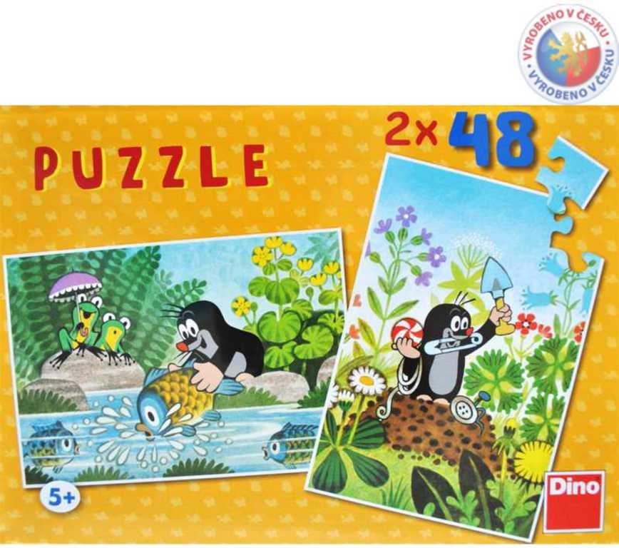 DINO Puzzle 2x48 dílků KRTEK a rybka skládačka Krteček