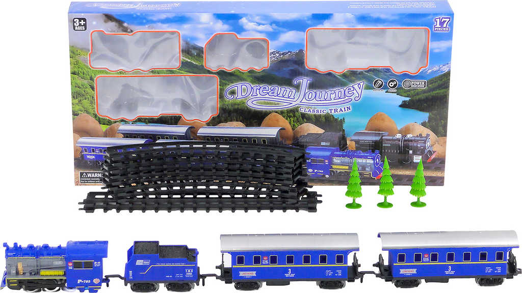 Vláčkodráha set mašinka + 3 vagonky s kolejemi na baterie Světlo Zvuk