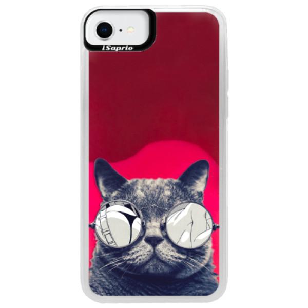 Neonové pouzdro Pink iSaprio - Crazy Cat 01 - iPhone SE 2020