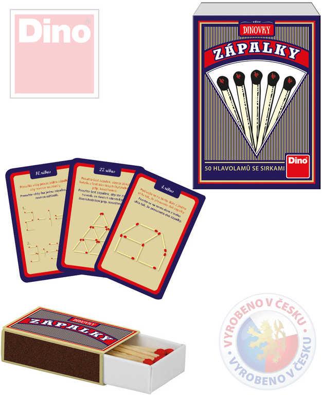DINO Hra Zápalky 50 logických hlavolamů se zápalkami v krabičce