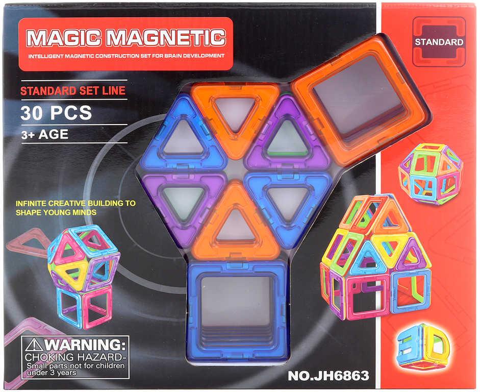 Stavebnice magnetická skládačka set 30 dílků v krabici
