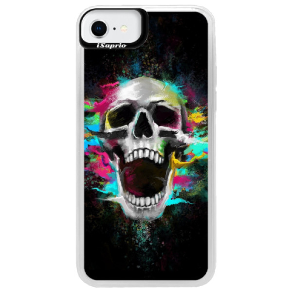 Neonové pouzdro Pink iSaprio - Skull in Colors - iPhone SE 2020