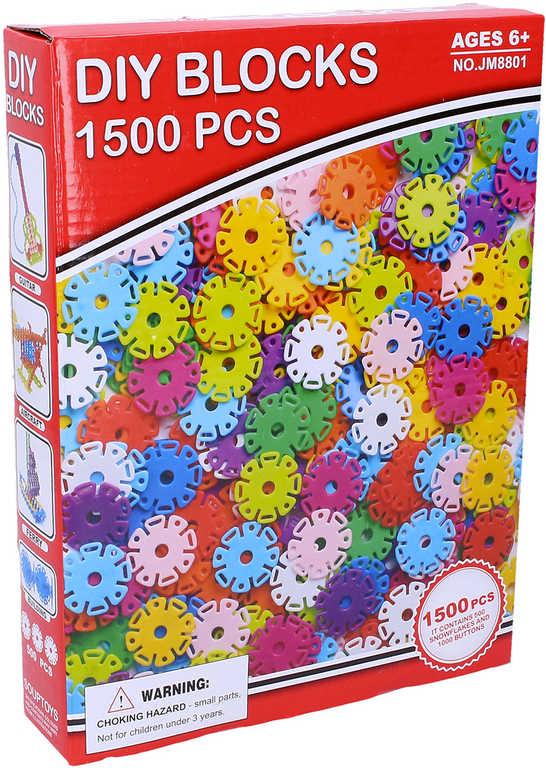 Stavebnice plastová sněhové vločky barevné set 1500 ks v krabici