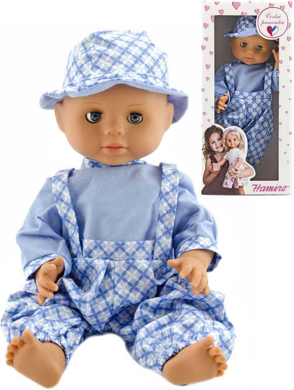 HAMIRO Panenka miminko 40cm pevné tělo modré kalhoty s kloboučkem