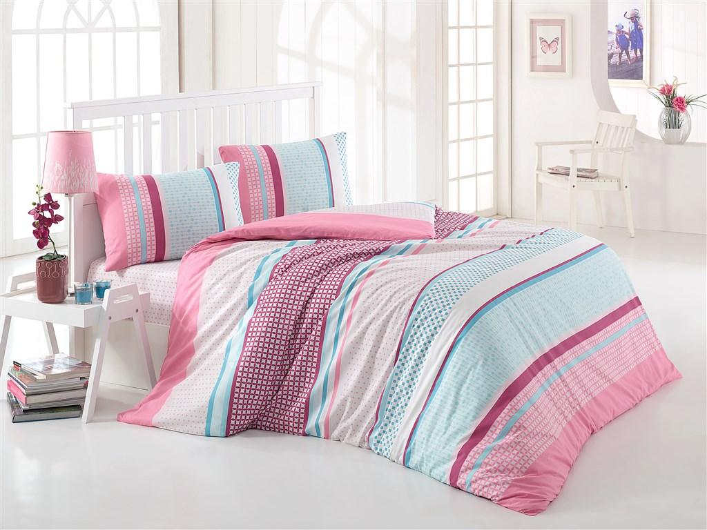 Prodloužené povlečení bavlna 140x220, 70x90cm Penelopa růžová, Výběr zapínání: zipový uzáv