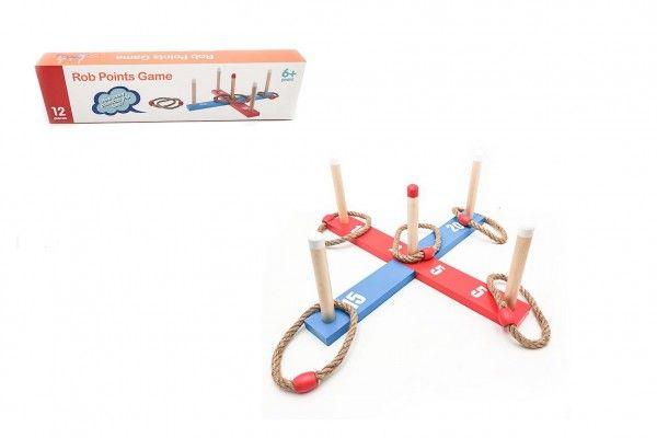 Házecí hra kříž s kruhy dřevo/provaz