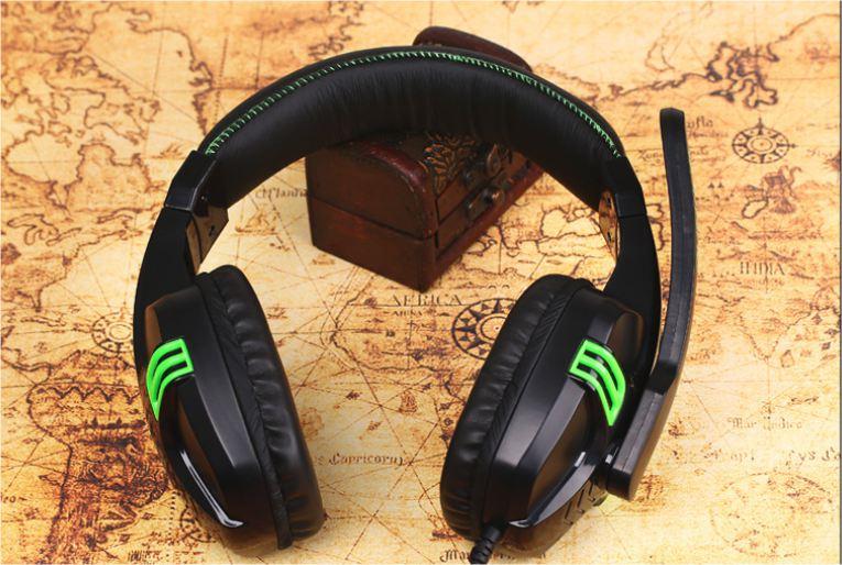 Náhlavní herní sluchátka Salar KX101 - Černo-zelená