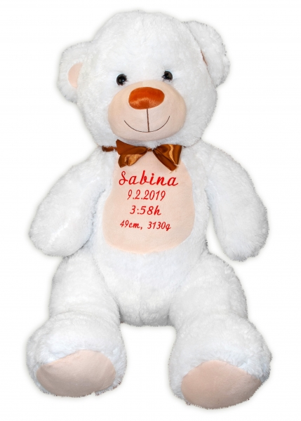 Baby Nellys Plyšový medvěd 100 cm s výšivkou na přání - bílý