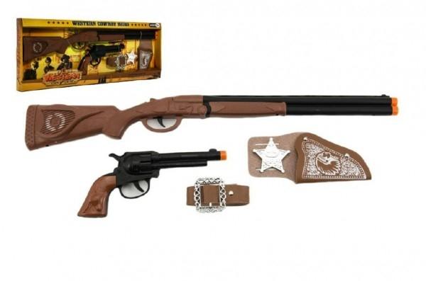 Kovbojská sada kolt pistole puška klapací + šerifská hvězda s doplňky 50cm plast 5ks
