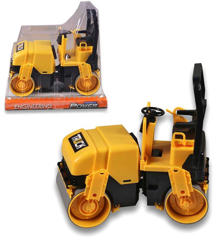Stavební stroj parní válec silniční volná kola žlutý plast