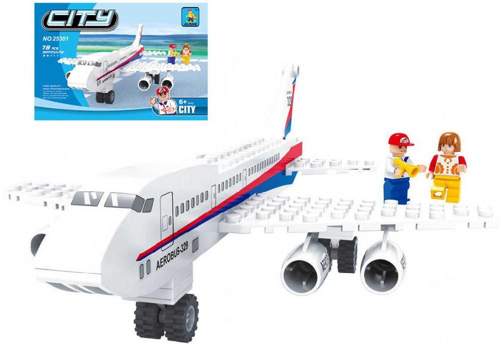 AUSINI Stavebnice MĚSTO letadlo dopravní 78 dílků + 2 figurky plast