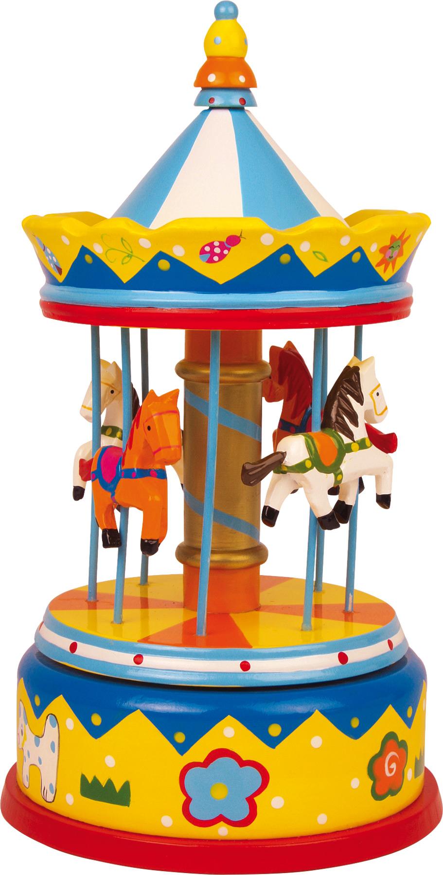 Small Foot Dřevěná hrací skříňka kolotoč Merry