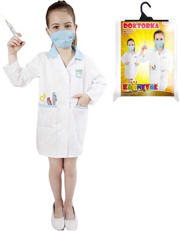 KARNEVAL Šaty doktorka dětská s rouškou vel.M (120-130cm) 6-8 let KOSTÝM