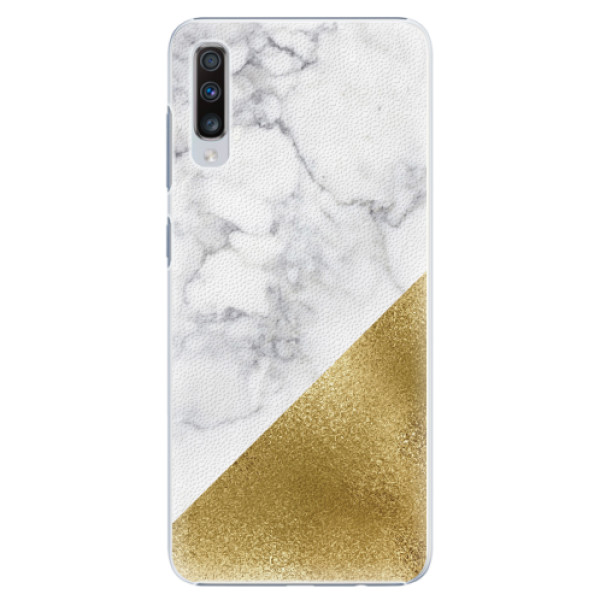 Plastové pouzdro iSaprio - Gold and WH Marble - Samsung Galaxy A70