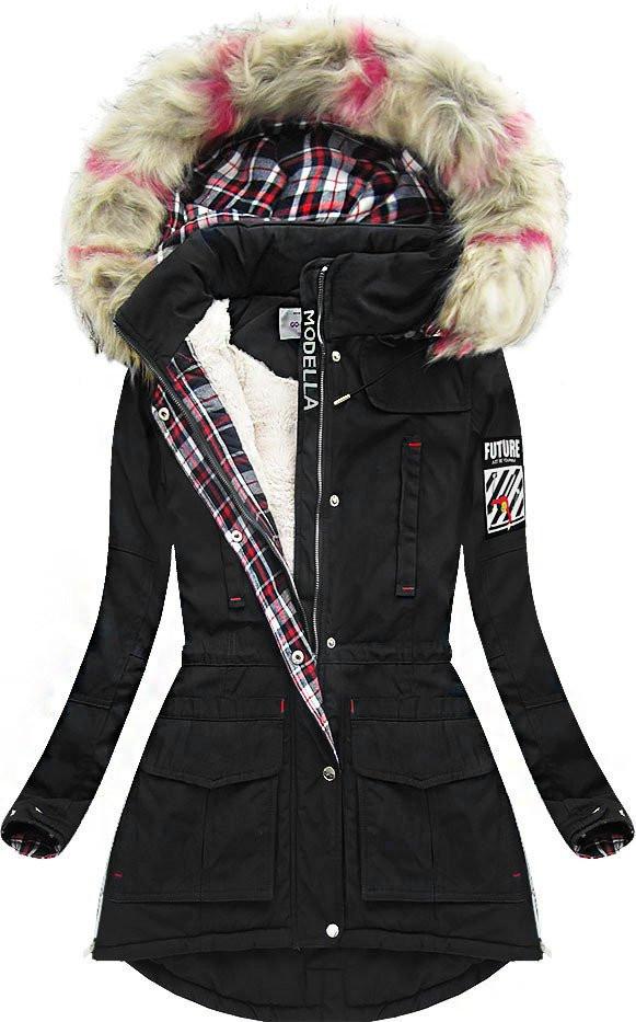 Černá zimní bunda s kapucí (39909)