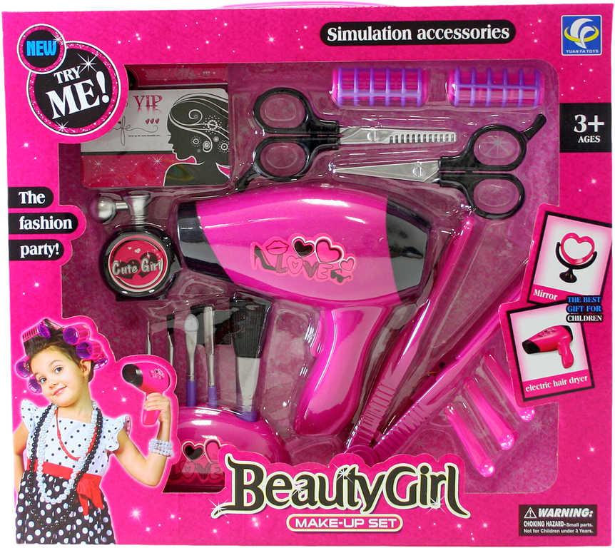 Zkrášlovací dětská sada krásy s fénem a žehličkou na vlasy na baterie