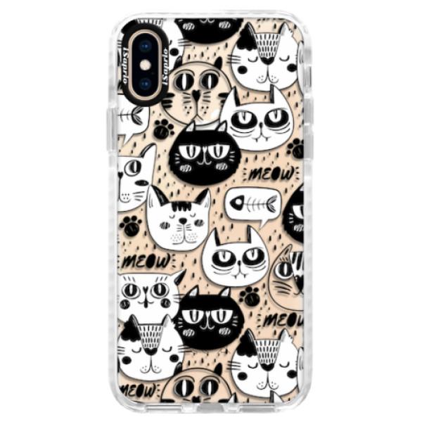 Silikonové pouzdro Bumper iSaprio - Cat pattern 03 - iPhone XS