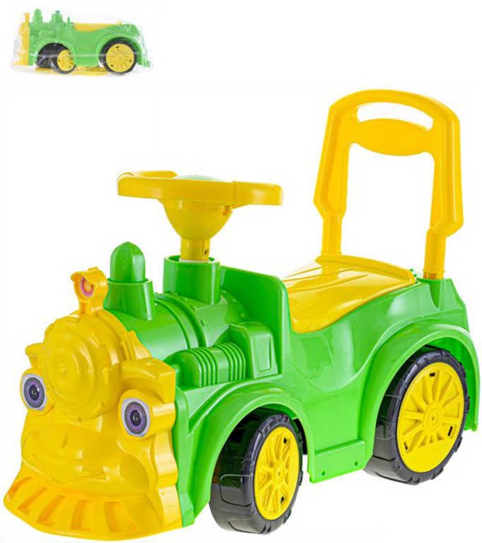 Odrážedlo lokomotiva 68x24x37cm zelené odstrkovadlo plast