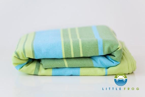 Little FROG Tkaný šátek na nošení dětí s bambusem - Bamboo Turquoise - XXL