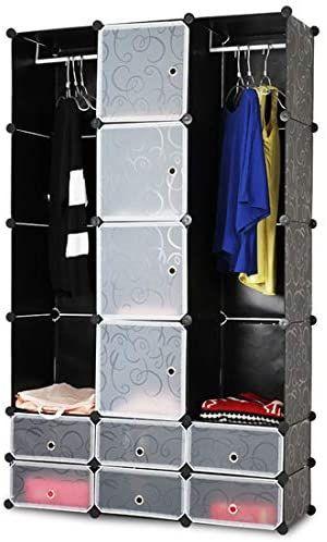 Šatní skříň s 12 přihrádkami, černá