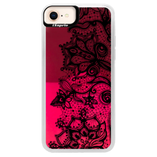 Neonové pouzdro Pink iSaprio - Black Lace - iPhone 8