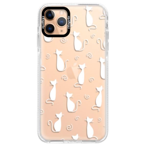 Silikonové pouzdro Bumper iSaprio - Cat pattern 05 - white - iPhone 11 Pro Max